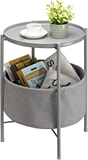 サイドテーブル コーヒーテーブル キングラック 丸 2段構造 トレイテーブル リビング ソファー用 テーブル ナイトテーブル おしゃれ ベッド横 部屋飾り 組み立て簡単 スチール カフェテーブル リビングで大活躍 (グレー)