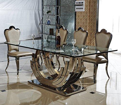 HG Royal Estates Smaragd Designer Esstisch Edelstahl Esszimmer Tisch Glastisch Glas Hochglanz Größe - 180x90x75 cm