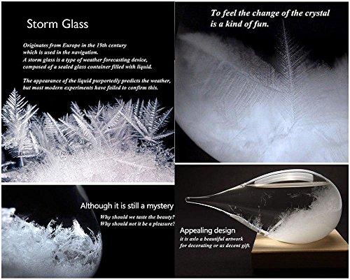 Pawacaしずくの形天気予報グラスボトルストームグラス天気予報器結晶観察器インテリア家に飾る(白い、台座有り、21*10.6*10.6cm、説明書*1、ボックス)