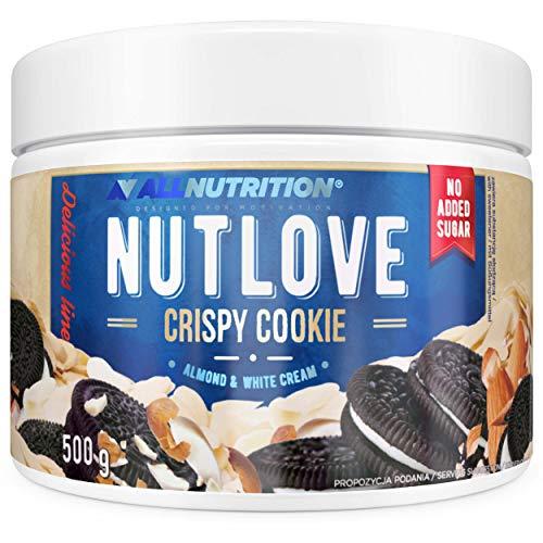 ALLNUTRITION NUTLOVE CRISPY COOKIE 500g ist eine köstliche Creme mit knusprigen Kakaokeksen und Mandeln, Ungesüßt, Kein Palmenfett!