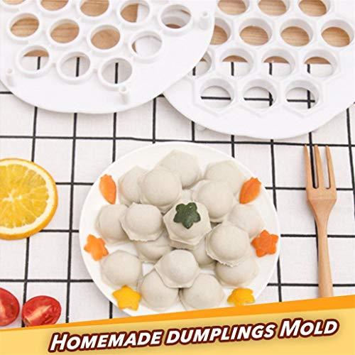 Yncc Moule De Boulette à La Main, DIY Plastique Moule, 2Pc Dumpling Mold Maker Gadgets Tool Dough Press Ravioli Making Mold DIY Kitchen 21 x 2 cm (Blanc)