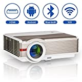 5000 Lumens Wifi Bluetooth HD Projecteur LED LCD Smart Projecteur vidéo sans fil Prise en charge...