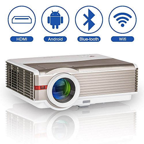 5000 Lumen WXGA Android LCD Smart HD Wireless Video Projector with...