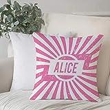 Poliestere morbido copricuscino decorativo,Alice, Grunge alla ricerca di design per ragazze scritte in col,di federe per cuscini di per salotto divano camera da letto con cerniera invisibile,45x45cm