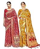 Paquete de 2 sarees para mujer Banarasi Art Silk Woven Sari | Regalo indio boda sari con blusa no cosida