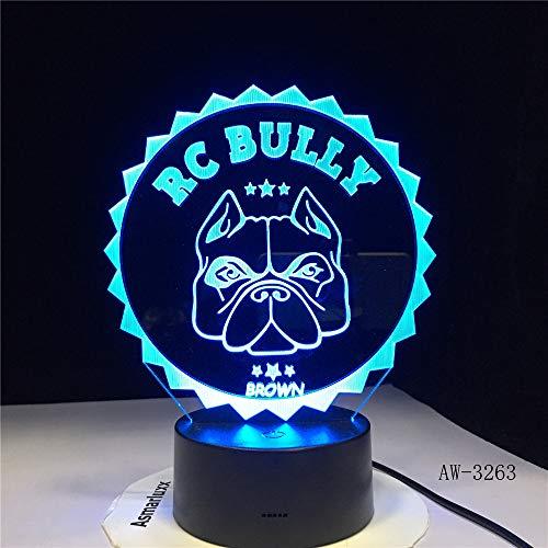 Nur 1 3D Mops Französisch Bulldogge LED Nachtlicht Haustier Welpe Hund Beleuchtung Home Decor Farbwechsel Tischlampe 33