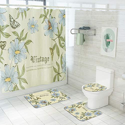 ZLWSSA Colored Flowers Shower Curtains Butterfly Tree Bathroom Curtain Anti Slip Pedestal Rug Lid Toilet Cover Bath Mat A W180xH240cm