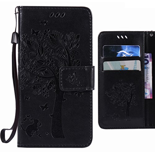 Ougger Handyhülle fürSony Xperia M5 Hülle Tasche, Baum Katze Druck BriefHülle Tasche Schale Schutzhülle Leder Weich Magnetisch Stehen Silikon Cover mit Kartenslot (Schwarz)