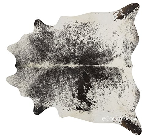 eCowhides Black Salt and Pepper Brazilian Cowhide Area Rug, Cowskin Leather...
