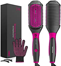 Ionic Hair Straightener Brush MINIZONE 2 in 1 Straightening Brush with 3 Heat Levels Fast Ceramic Heating & Anti-Scald & Auto-Off Safe & Easy to Use, Straightening Comb for Travel, Salon at Home