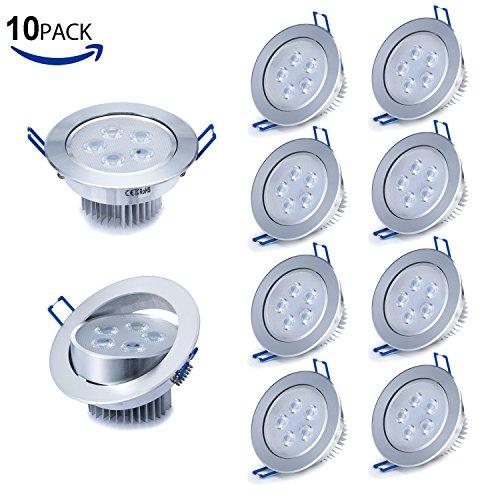 Liqoo® 10er 5W LED Einbaustrahler Einbauleuchte Set Deckenstrahler Deckenleuchte Deckenlampe ceiling light Einbauspot Spot Kaltweiß 6000 - 6200K 500Lumen Ersetzt 40W 2835SMD AC 85-265V mit Trafo