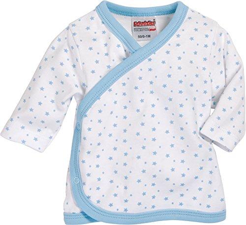 Schnizler - Wrap-Around Shirt Long Sleeve Stars Allover - Chemise mixte bébé, bleu (White/Blue), Premature (Taille fabricant:44)