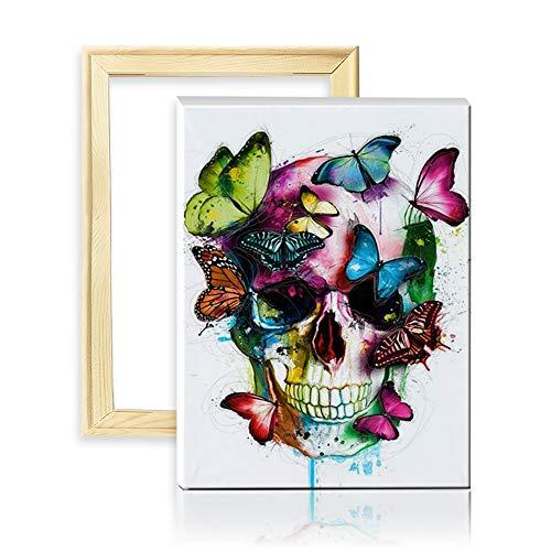 ufengke Schmetterling Totenkopf 5D Diamant Malerei Set Mosaik DIY Diamond Painting nach Zahlen Kreuzstich Stickbilder, mit Holzkeilrahmen, 25x35cm