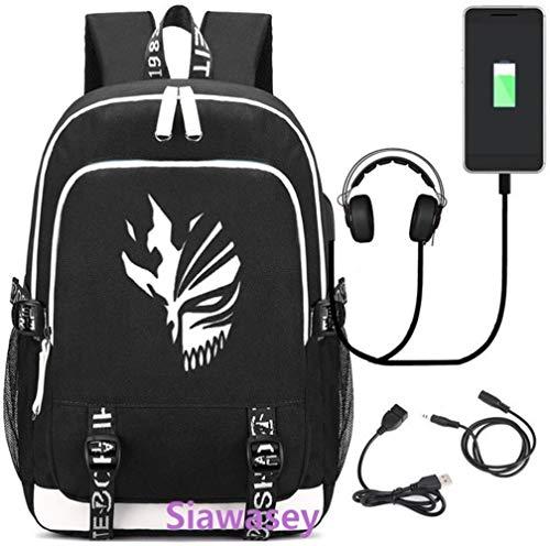 Anime Cosplay Bleach Bright Backpack Laptop School tas met USB-poort opladen