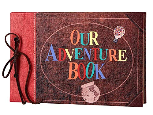 LINKEDWIN Our Adventure Book, Leather Cover with Convex Words, Up Themed Vintage Scrapbook Album,...