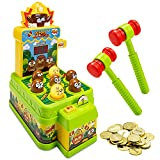 Whack A Mole Game for Kids - Dual Mode Mini Electronic Arcade Game Toy with Trial and Coin Mode - Interactive Pounding Toy Playset with 2 Hammers - Developmental Game for Toddlers Ages 3 and Up