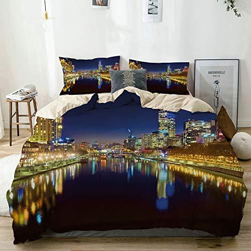 QYUESHANG Bedding Juego de Funda de Edredón,Noche de la Ciudad en el río de Melbourne Imprimir,Funda de Nórdico y 2 Fundas de Almohada Single
