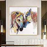 BailongXiao Cuadro En Lienzo Cartel Colorido del Caballo en imágenes Decorativas para la decoración del hogar de la habitación45x45cmPintura sin Marco