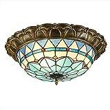 Antike Tiffany LED Deckenleuchte Dimmbar Deckenlampe Weinlese-Barock Runde Buntglas Kronleuchter Beleuchtung Mediterraner-Lampen Für Wohnzimmer Schlafzimmer Esstisch Korridor Dekorative Leuchten