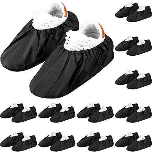 12 Paare Wiederverwendbar Schuhüberzüge Rutschfeste Wasserdichte Stiefelüberzüge Elastizität Komfort Staubdichte Überschuhe Maschinen Waschbar für Haushalt Teppich Bodenschutz, Schwarz