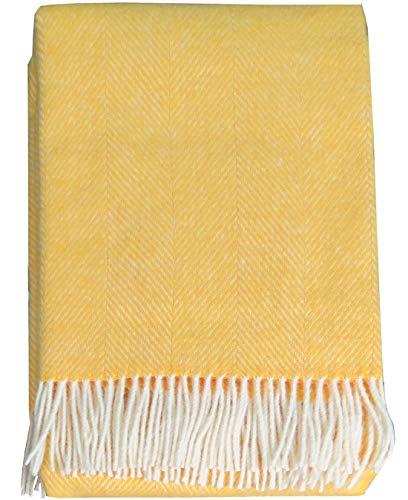 Lange Fischgrat Wolldecke aus 100% neuseeländischer Schurwolle Ökotex 100 (130 x 220cm, gelb) Wohndecke, Sofadecke, Plaid Wolle, Tagesdecke, Kuscheldecke