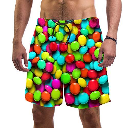 ATOMO Pantalones cortos de baño para hombre, de colores arcoíris, caramelos, casual, surf, playa, secado rápido
