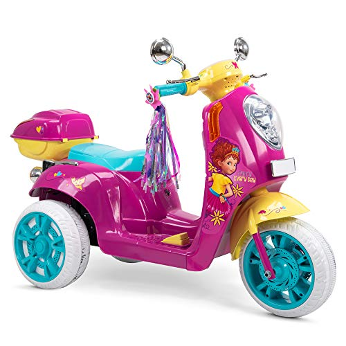 Huffy 6V Ride On Electric Scooter Disney Fancy Nancy Light Up Vespa w/Rear Storage