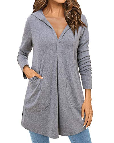 ABYOXI Damen V Ausschnitt Split Hoodies Langarm Long Pullover Pulli Sweatshirt Tuniken Jumper Grau XXL