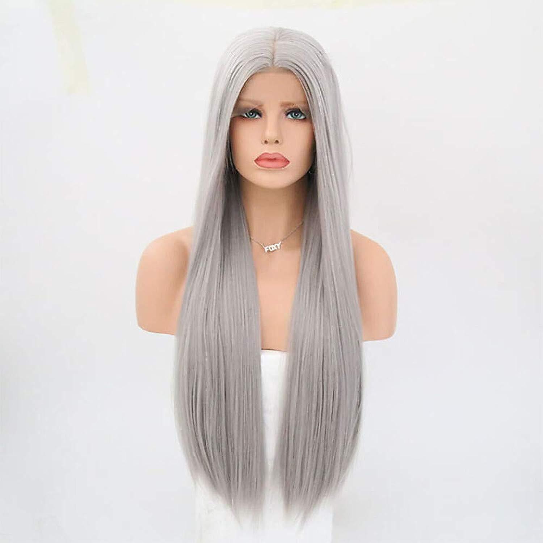 Parrucca davantiale in pizzo sintetico Parrucca davantiale in pizzo con taglio di capelli a strati diritti Stile grigio  aro Parrucca grigia in cotone resistente al calore con uomoiche lunghe