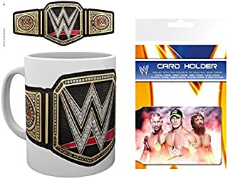 1art1 Set: Wrestling, WWE, Title Belt Photo Coffee Mug (4x3 inches) and 1 Wrestling, Credit Card Holder Wallet for Fans Collectible (4x3 inches)