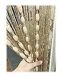 wooden bead door curtain - Eyotool Door String Curtain Flat Silver Ribbon Thread with Shaggy Tassel Room Divider, 39''x79'', (Gold-style2)