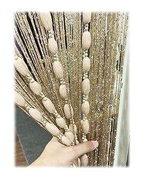Eyotool Door String Curtain Flat Silver Ribbon Thread with Shaggy Tassel Room Divider 39''x79''  Gold-style2