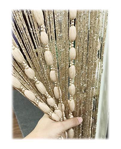 Eyotool Door String Curtain Flat Silver Ribbon Thread with Shaggy Tassel Room Divider, 39''x79'', (Gold-style2)