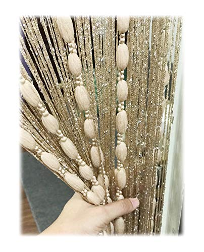 Eyotool Door String Curtain Flat Silver Ribbon Thread with Shaggy Tassel Room Divider, 39''x79'', (Gold-style2)