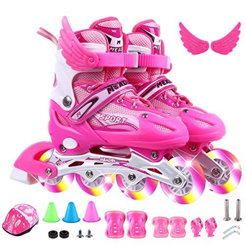 ZYW Rollschuhe Mädchen/Damen/Kinder, 13-Teiliges Set Rollschuhe Mädchen Verstellbar Es Gibt Blitz, Inline Skates Herren, Helme, Gliedmaßenschützer, Straßensperren Small/Pink (Allradlicht)