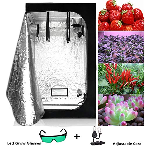 FJNS Hydroponics Grow Tent, Grow Room Box Plant, Plant Grow Tent Reflective Mylar With observation window and Plant lamp Defensive Glasses Nylon Lanyard for Indoor Plant Growing,60 * 60 * 140cm