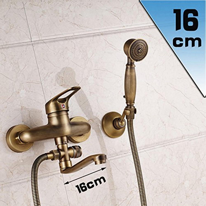 Lange Nase Bad Badewanne Mixer Wand montiert 360 swive Outlet Auslauf Messing antik Badewanne Dusche Wasserhahn mit Handdusche und Halterung, 16 cm Auswurfkrümmer