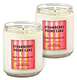 Bath & Body Works White Barn Strawberry Pound Cake Single Wick Scented Candle with Essential 7 oz /...