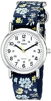 Timex Women s T2P370 Weekender 31mm Blue Floral Nylon Slip-Thru Strap Watch