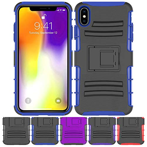 iPhone Xs MAX Stand Case, HLCT Rugged Shock Proof Dual-Layer Case with Built-in Kickstand for iPhone Xs MAX (Blue)