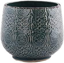 Little Green House Ceramic Blue Round Vase - Medium