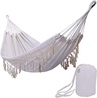 ONCLOUD Boho Large Brazilian Fringed Macramé Double Deluxe Hammock Swing Bed with Carry Bag for Patio, Porch, Bedroom, Yard, Beach, Indoor, Outdoor & Wedding Party Decor, White