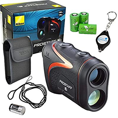 Nikon Prostaff 7i Laser Rangefinder Waterproof Compact Lightweight Bundle with 3 Extra Viridian CR2 Batteries and a Lumintrail Keychain Light from Nikon