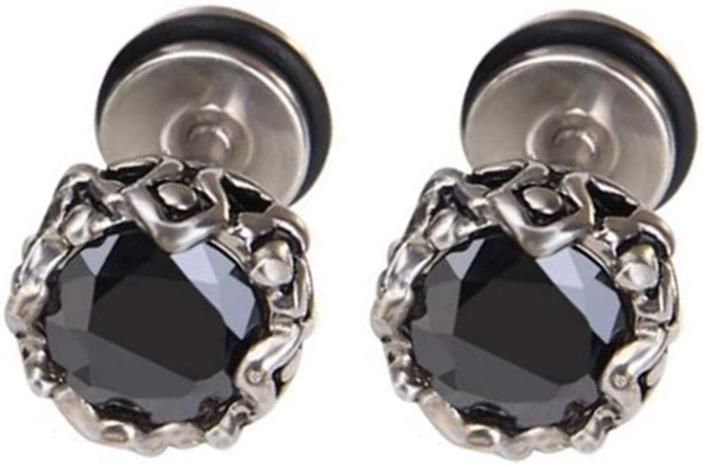 Stainless Steel Retro Vintage Black Onyx Cubic Zircon Screw Setting Stud Earrings