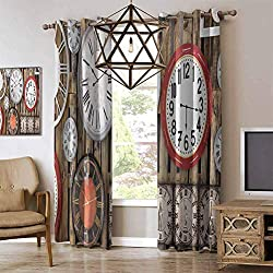 RenteriaDecor Clock Room Darkening Blackout Curtains Antique Clocks on The Wall Instruments of Time Vintage Design Pattern Artwork Grommet Drapes for Living Dining Room Brown and Red W84 x L96 Inch