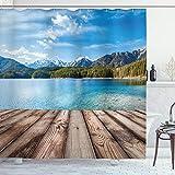 ABAKUHAUS Nautisch Duschvorhang, See Wald Berg, mit 12 Ringe Set Wasserdicht Stielvoll Modern Farbfest & Schimmel Resistent, 175x180 cm, Braun Blau