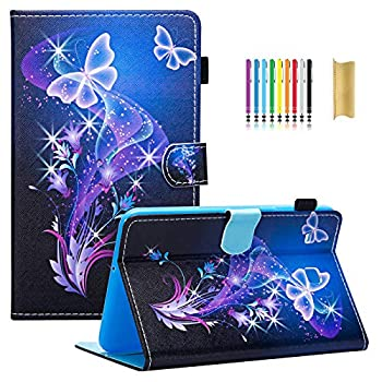 Dteck Case for Samsung Galaxy Tab E 8.0  Case- Slim Lightweight Stand Folio Cover Case [Card Slot] Wallet Case for Samsung Tab E 8.0 SM-T378 / Tab E 8.0-inch SM-T375 / SM-T377 Tablet Purple Butterfly