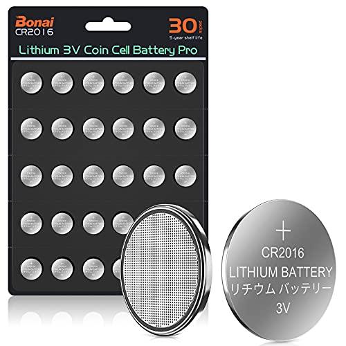 BONAI Pilas de Botón de Litio CR2016, 3V Lithium Coin Cell para Llaves con Sensor Magnético Relojes (Paquete de 30)
