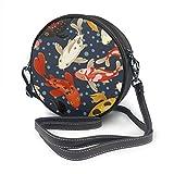 Koi Carp Pattern Japón Estilo Tradicional Diseño Redondo Bandolera de Cuero Vintage Crossbody Ajustable Correa para el Hombro para Mujer Personalizado