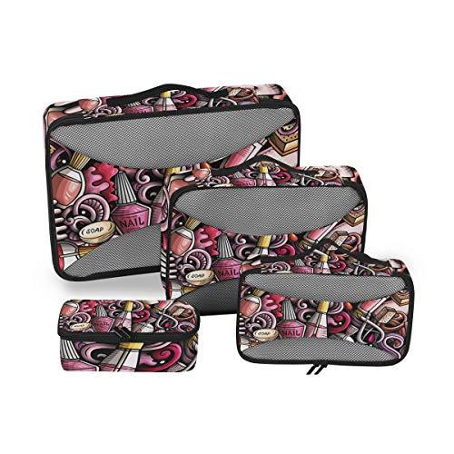 CPYang Lustige Kosmetik-Nagellack-Muster, Packwürfel, 4 Set, Gepäckverpackung, Reise-Organizer,...